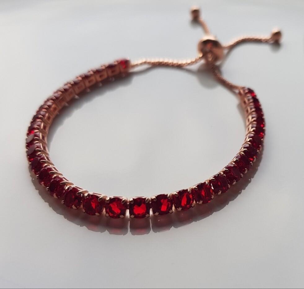 Mini strass steentjes armbandjes rosé/rood