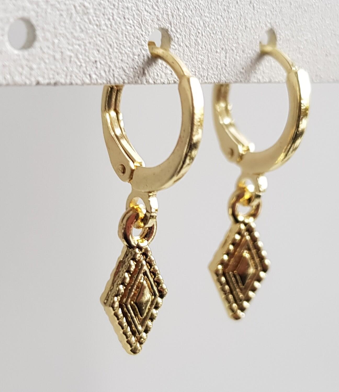 Mini ruitje oorbellen goud