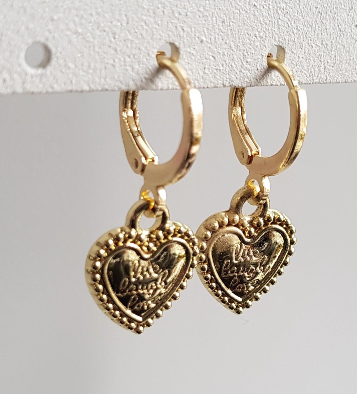 Live, laugh, love oorbellen goud