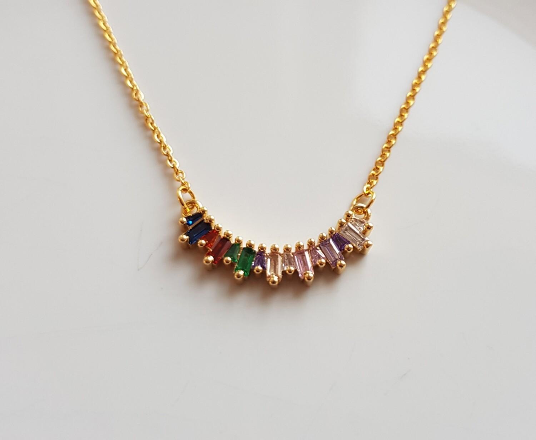 Colorful stones ketting goud