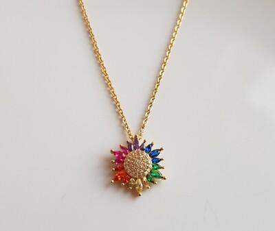Colorful bloem ketting goud