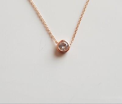 Dotje halsketting met diamant steentje roségoud