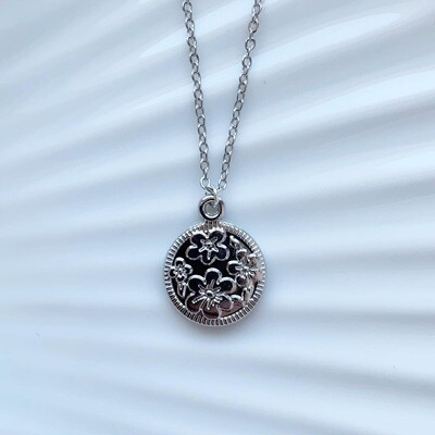 Flower coin zilver ketting