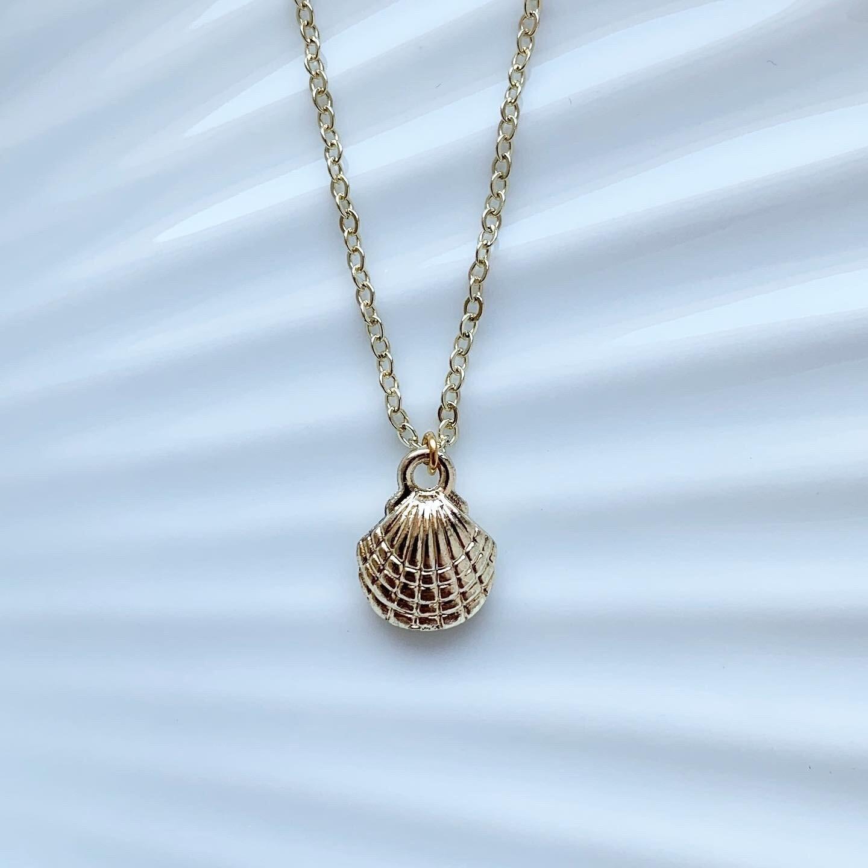 Seashell ketting goud