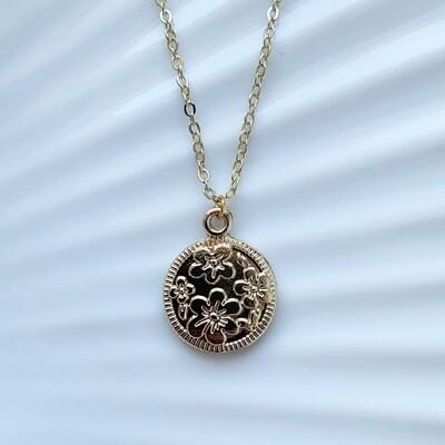 Flower coin ketting goud