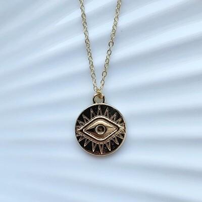 Eye coin ketting goud