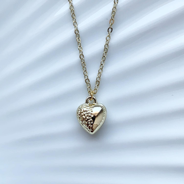 Mini 3D heart ketting goud