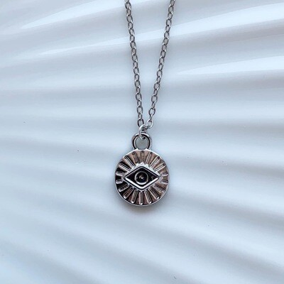 Mini eye coin ketting zilver