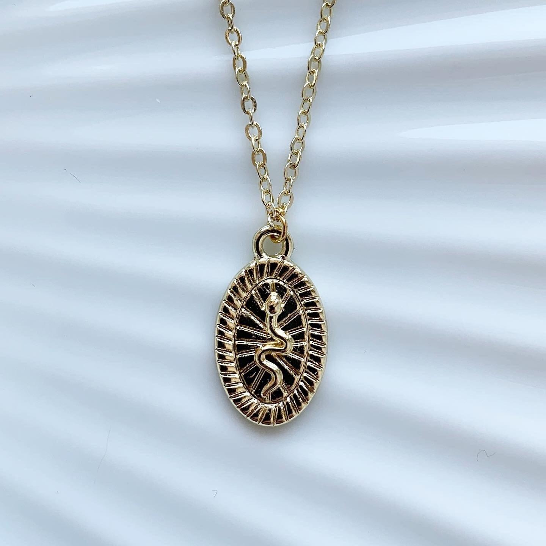 Snake coin ketting goud