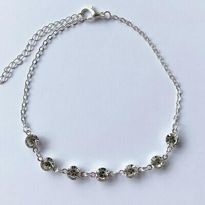 Enkelbandje met strass steentjes zilver