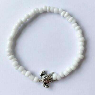 Enkelbandje tiny schildpad wit/zilver