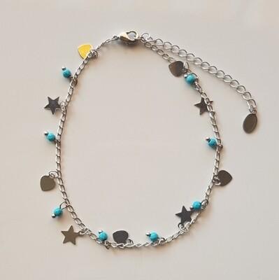 Enkelbandje met diverse figuurtjes zilver/blauw