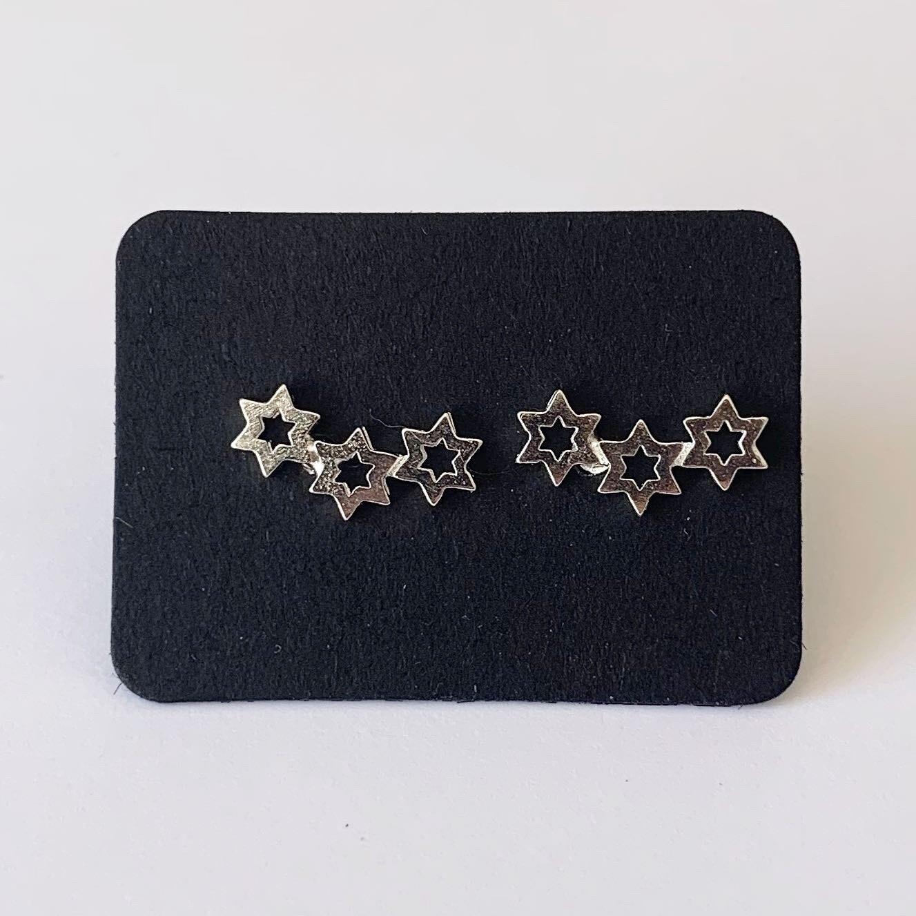 Open sterren knopjes 925 sterling zilver