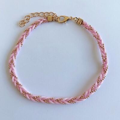 Gevlochten enkelbandje baby roze/goud