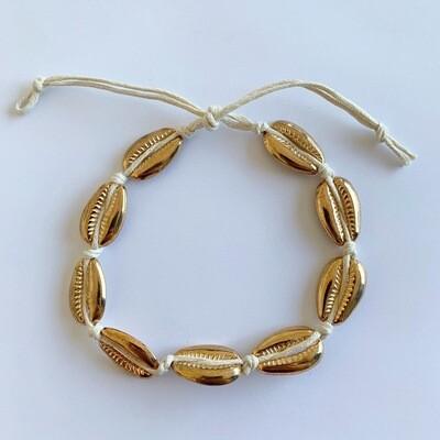 Gouden schelpen enkelbandje