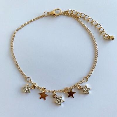 Enkelbandje met sterren en strass steentjes goud