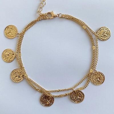 Munten enkelbandje goud