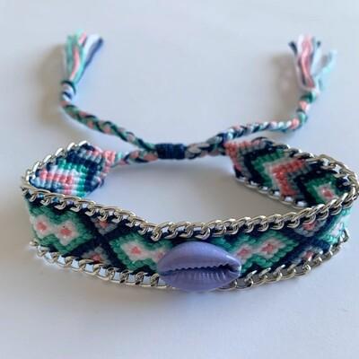 BOHO geweven armbandje met schelp blauw/roze/wit