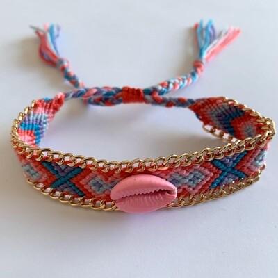 BOHO geweven armbandje met schelp Roze/blauw