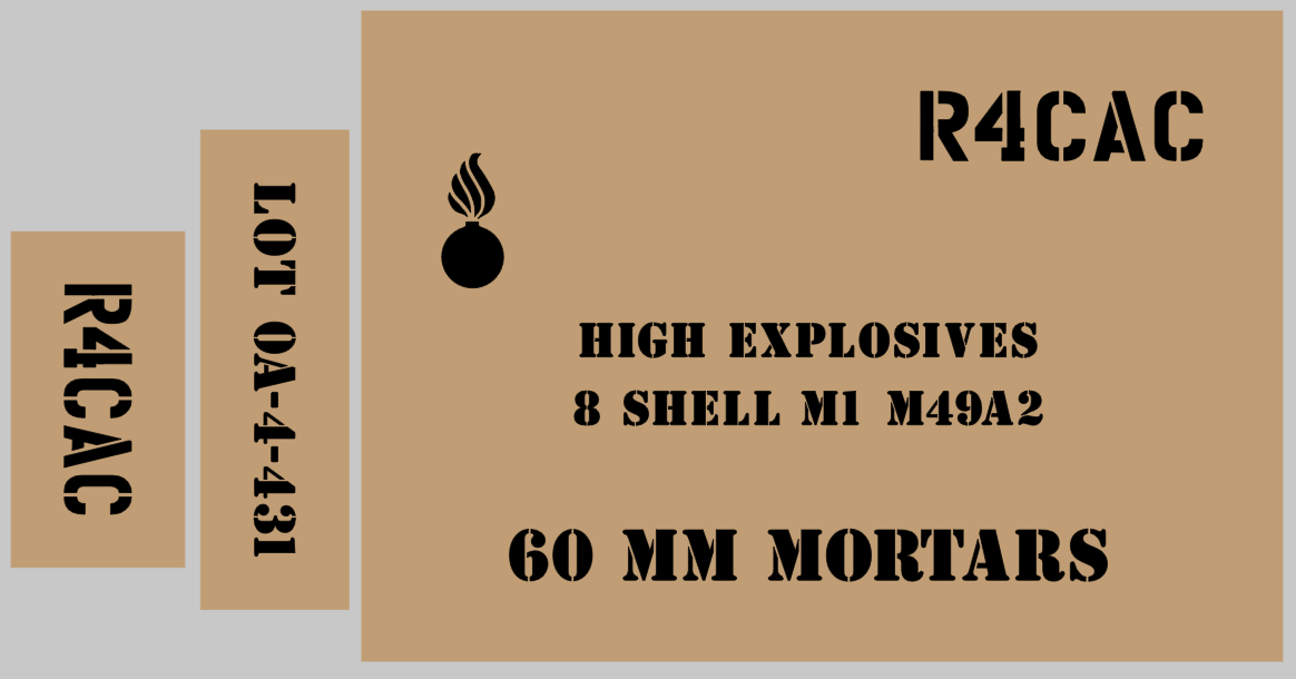 60mm Mortar ammo box stencil set for re-enactors ww2 army Jeep prop