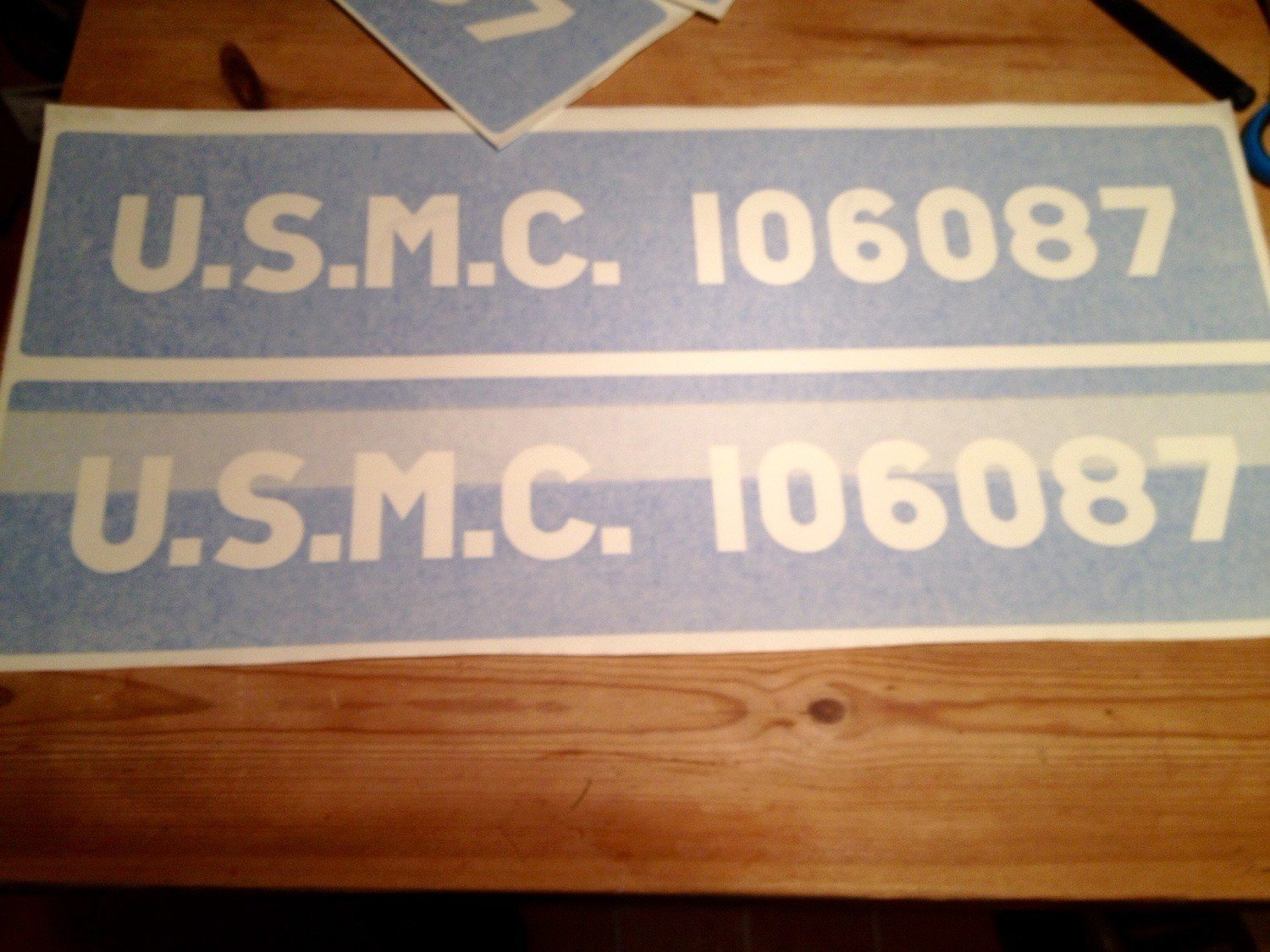 Factory font Bonnet / Hood U.S.M.C. stencils for Jeeps etc