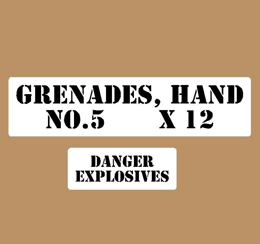 Hand grenade stencil set small stencil set for re-enactors ww2 army Jeep prop