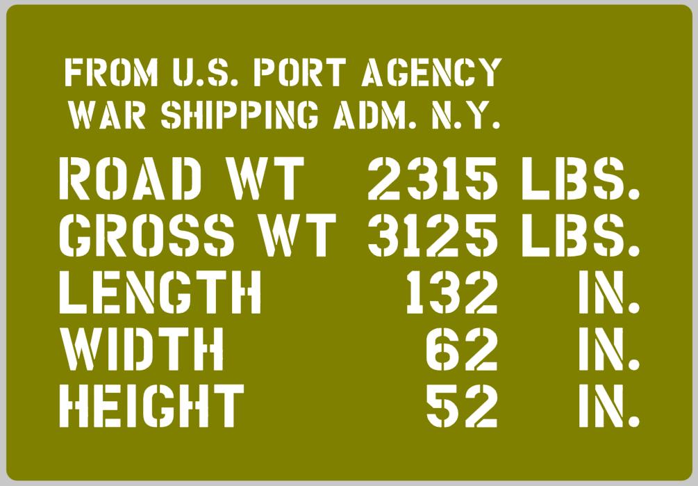 Jeep shipping detail stencil (full) ww2 jeep Ford wartime military vehicle