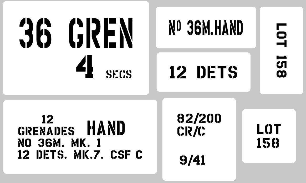Mills Grenade 36 crate box stencil set for re-enactors ww2 army prop