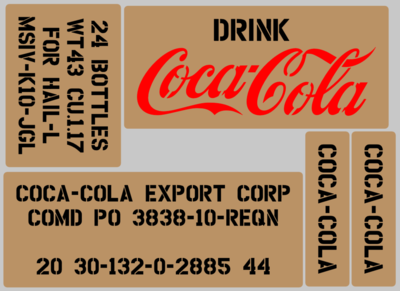 Coke Cola Soda drink box stencil set