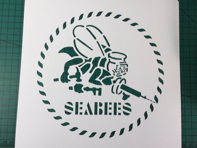 Seabees logo stencil set for re-enactors ww2 wartime prop