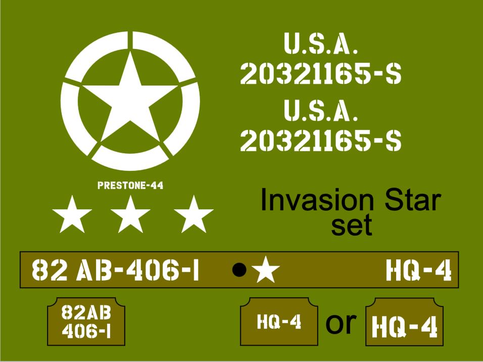 Jeep Invasion Star stencil set ww2 army Jeep Willys Ford Hotchkiss