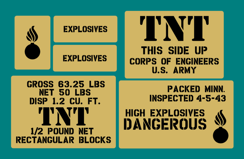 TNT crate stencil set for re-enactors ww2 army prop