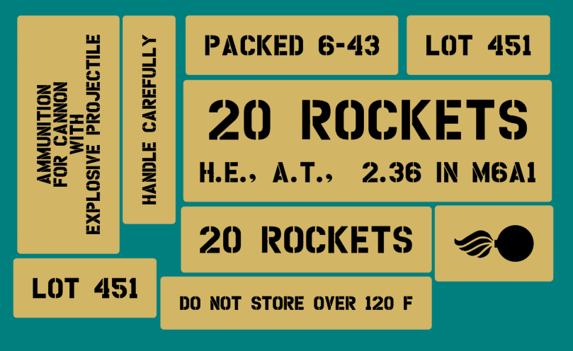 Bazooka 20 rocket stencil set