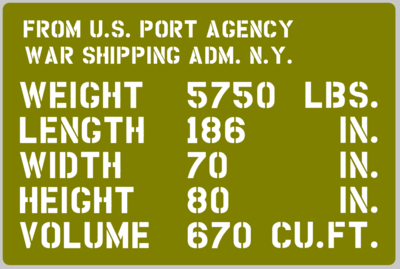 Dodge 53 Carry All shipping detail stencil (full) ww2 wartime military vehicle