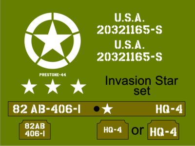 1/6th Scale Jeep Invasion Star Jeep stencil set suit Dragon model kit.