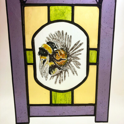 Stained Glass Painted Bee