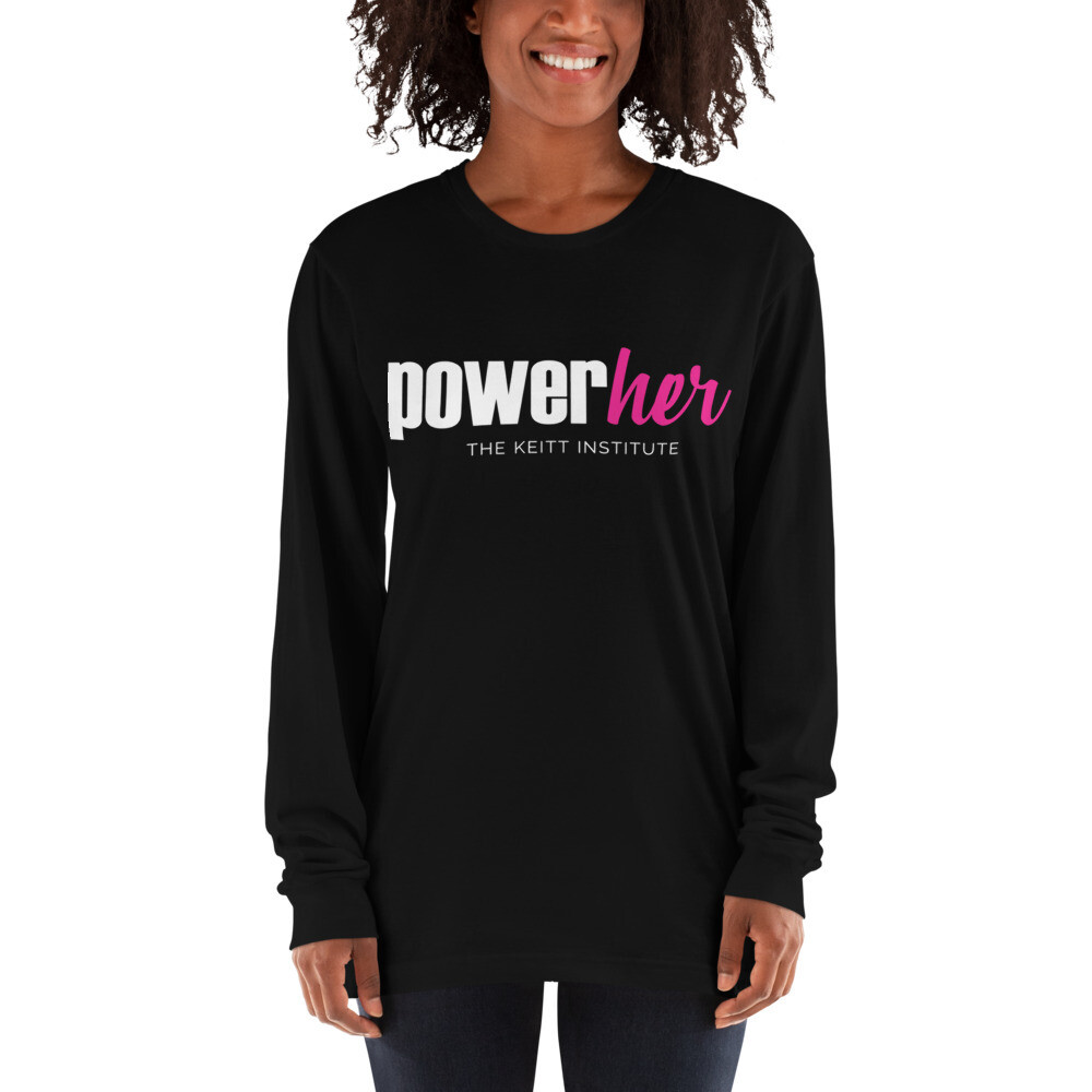 PowerHer Pink & White Logo Long Sleeve Shirt