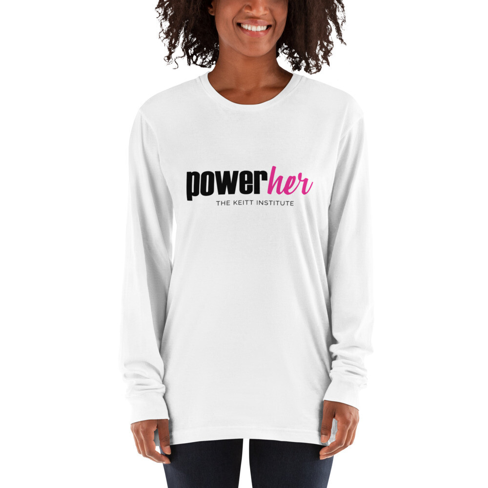 PowerHer Pink & Black Logo Long Sleeve Shirt