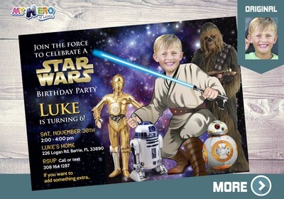 Jedi Invitation. Star Wars Invitation. Turn your kid into a Jedi with BB-8, R2-D2, C-3PO & Chewbacca. Jedi Birthday. Star Wars Party. 018
