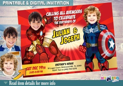 Avengers Siblings Birthday Party Invitation. Capt America and Ironman. Brothers Superheroes Birthday Ideas. Joint Avengers Party Ideas. 080