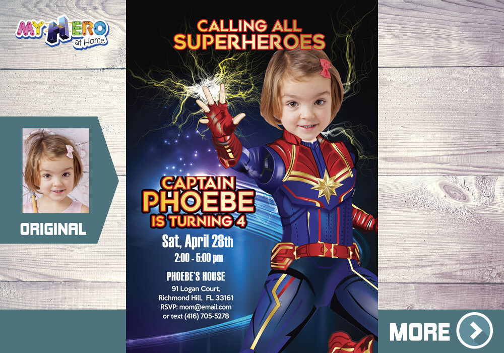Captain Marvel Invitation. Captain Marvel Party. Captain Marvel Birthday. Captain Marvel Decoration. Fiesta tema Capitana Marvel. 289