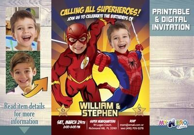 Flash and Spiderman Birthday Invitation. Joint superheroes birthday. Superheroes Birthday Invitation. Brothers Superheroes Birthday Party. 182
