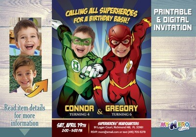 Green Lantern and Flash Invitation. Flash and Green Lantern Party. Joint Justice League Party Ideas. Justice League Invitation for 2. 166