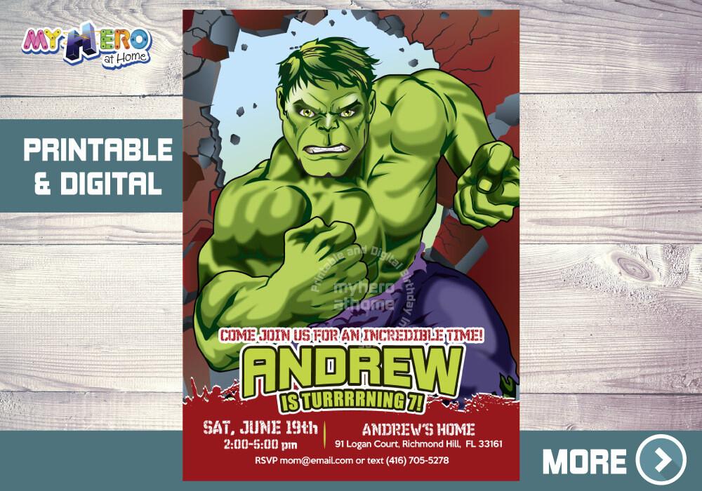Hulk Birthday Invitation. Hulk Birthday ideas. 088NF