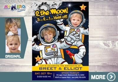 Joint Astronauts Invitation. Astronauts Siblings Birthday. 389