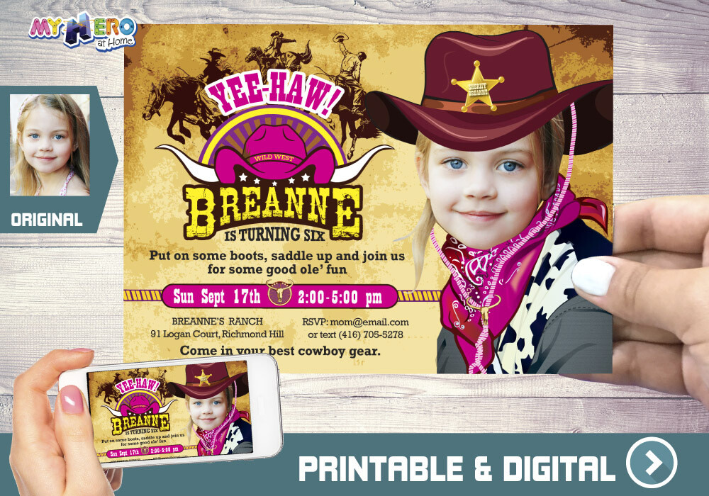 Cowgirl Birthday Invitation. Cowgirl Party Ideas. 206