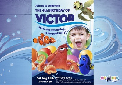 Finding Dory Birthday Invitation for boys. 222