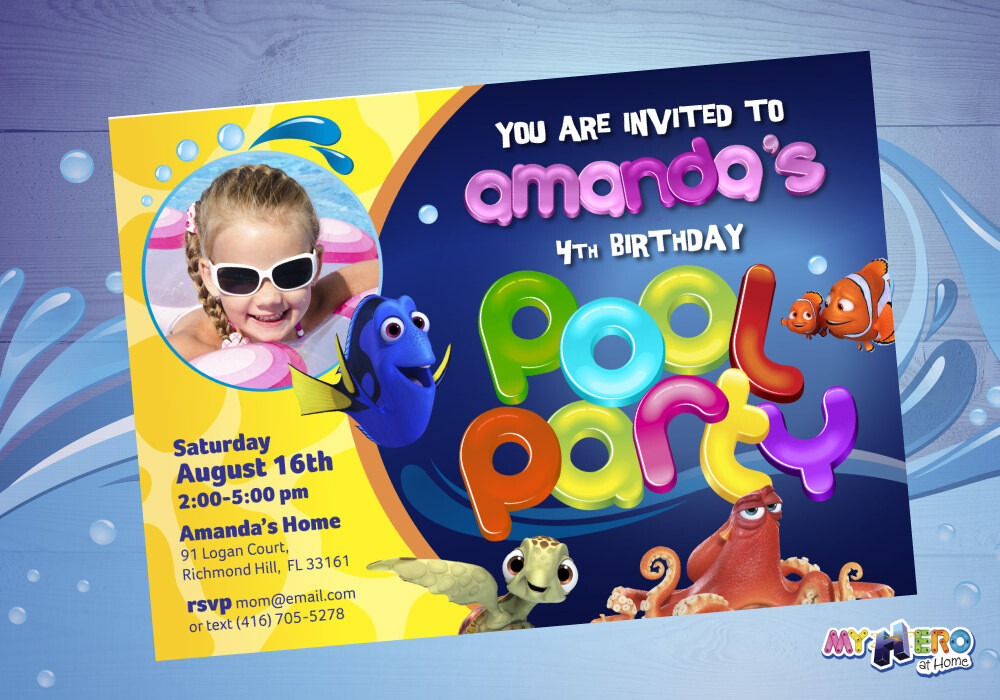 Girly Finding Dory Pool Party Invitation. Pool Party themed Finding Dory. 047