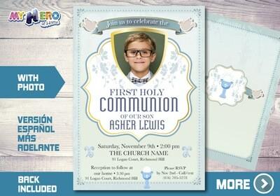 Boy First Communion Invitation. First Holy Communion Invitation. 379