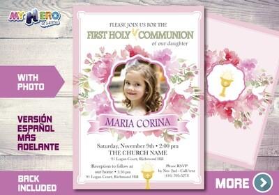 Girl First Communion Invitation. 1st Communion Invitation. 383